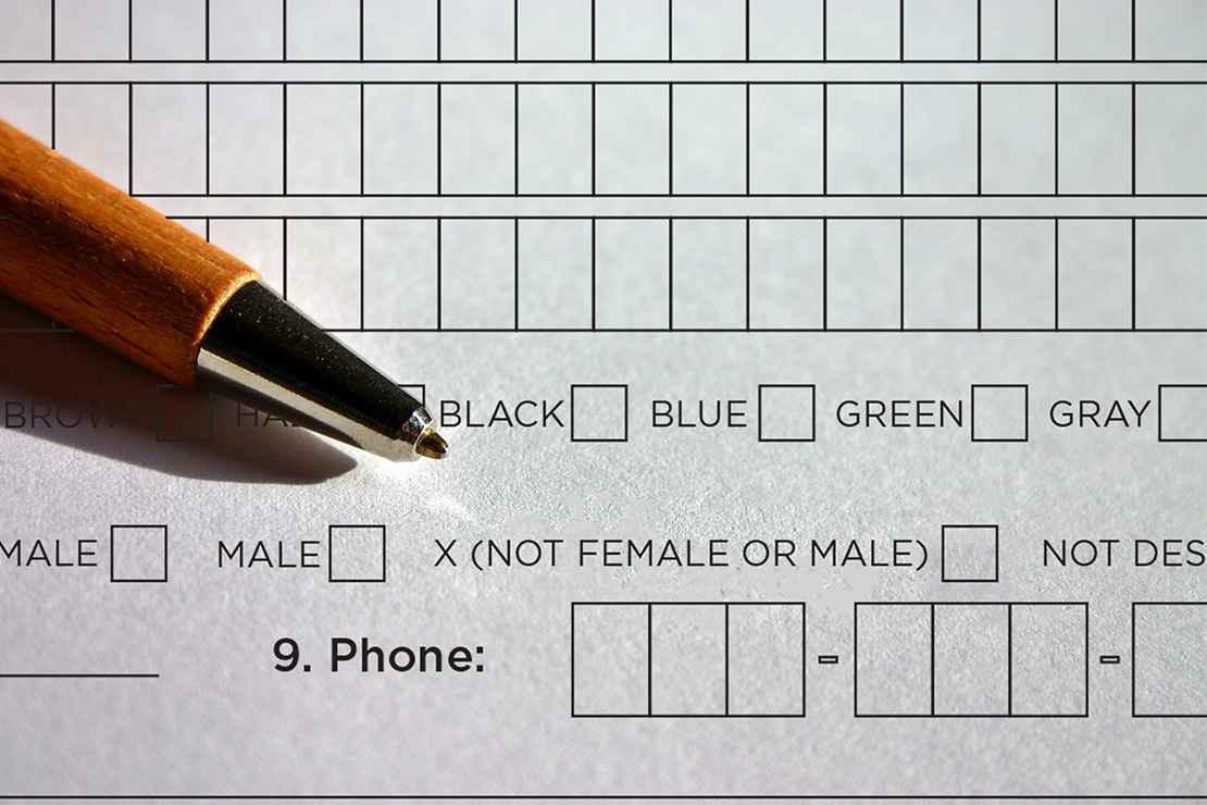 Form with gender-neutral marker.