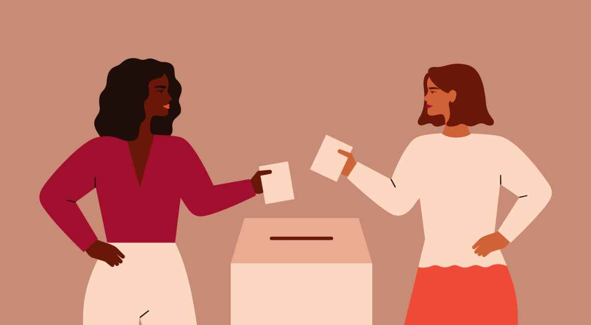 two people voting