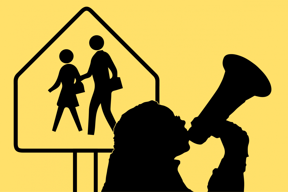 Graphic of student with megaphone